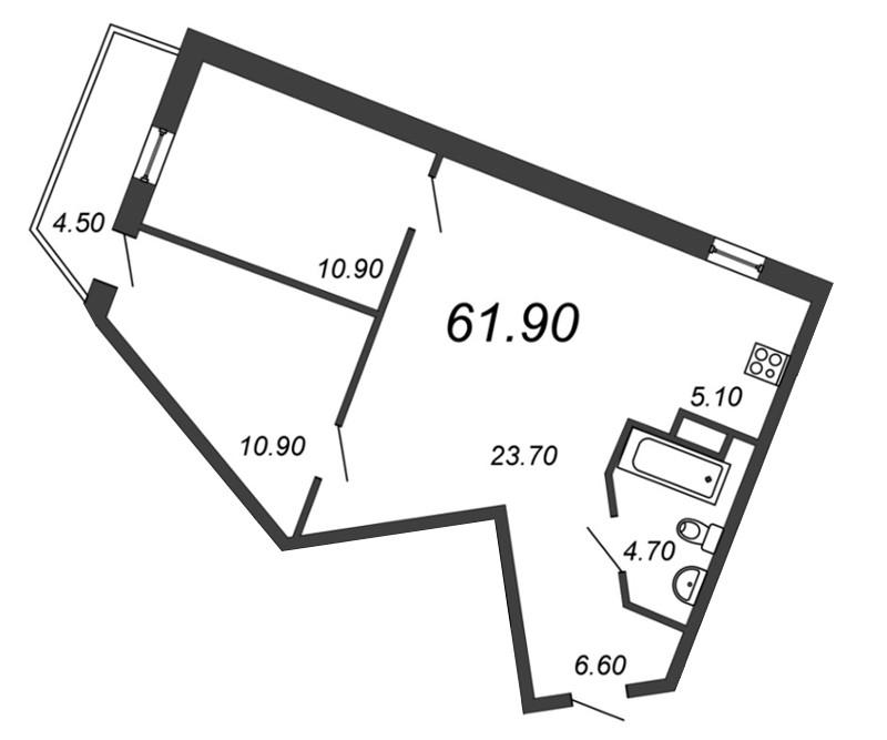 Планировка Трёхкомнатная квартира (Евро) площадью 60.9 кв.м в ЖК «Отражение»