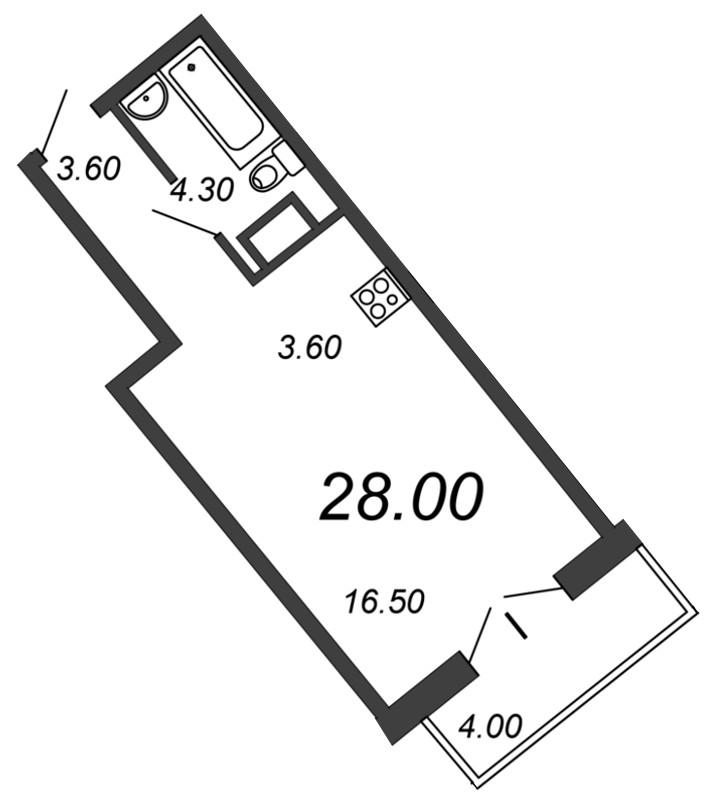 Планировка Студия площадью 27.7 кв.м в ЖК «Отражение»