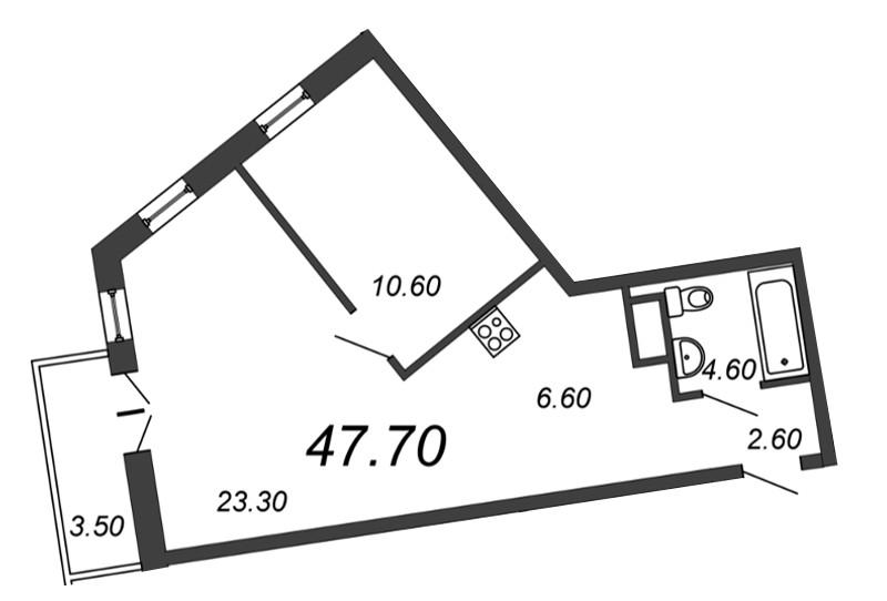 Планировка Двухкомнатная квартира (Евро) площадью 46.8 кв.м в ЖК «Отражение»