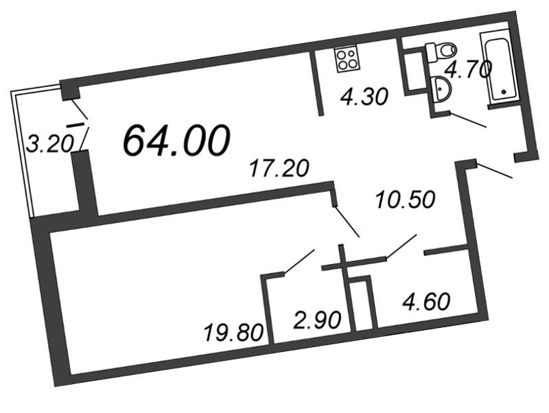 Планировка Двухкомнатная квартира (Евро) площадью 64.5 кв.м в ЖК «Отражение»