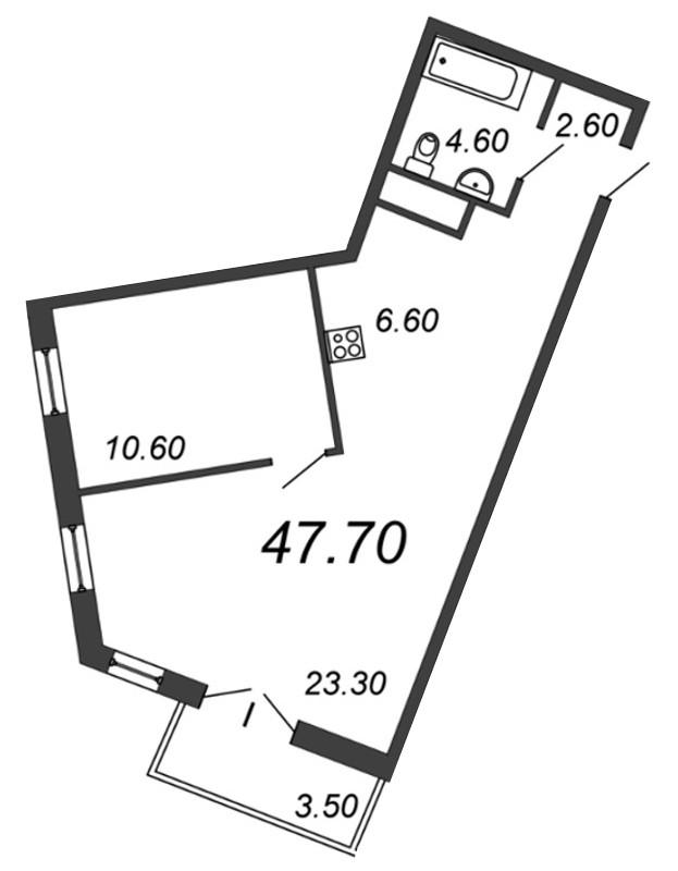 Планировка Двухкомнатная квартира (Евро) площадью 47.2 кв.м в ЖК «Отражение»