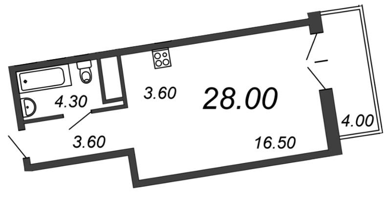 Планировка Студия площадью 27.5 кв.м в ЖК «Отражение»